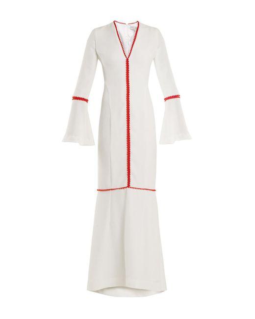 Galvan - White Maxi Bell Sleeve Dress - Lyst