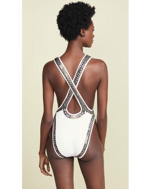 f5767708a9c ... Norma Kamali - White Gunmetal Stud Marissa One Piece Swimsuit - Lyst ...