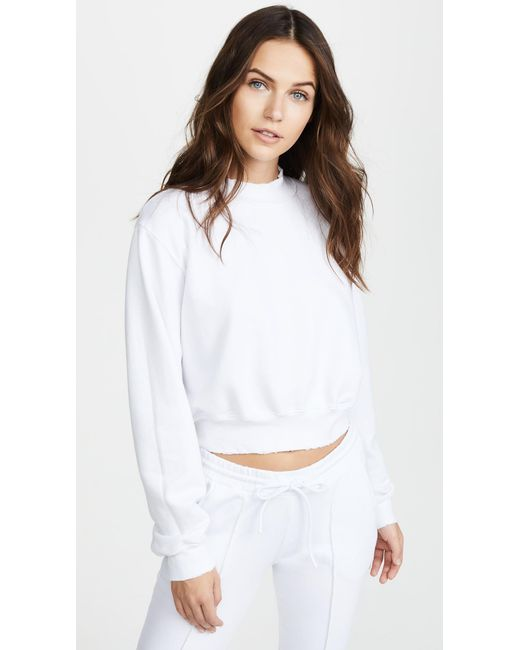 d0ef5d82b88b48 Cotton Citizen - White Milan Cropped Sweatshirt - Lyst ...
