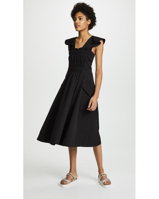 Carven - Black Cap Sleeve Dress - Lyst