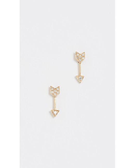 EF Collection - Metallic Diamond Mini Arrow Stud Earrings - Lyst