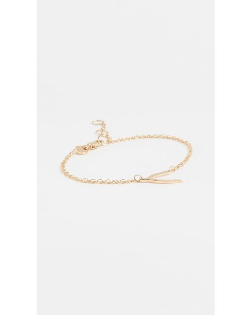 Jennifer Zeuner - Metallic Mini Wishbone Bracelet - Lyst