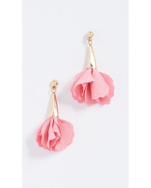 Shashi - Pink Rose Drop Earrings - Lyst