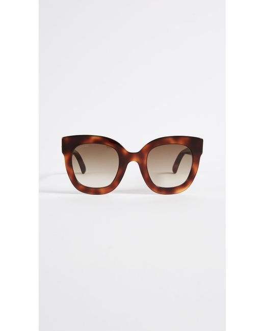 be5d13e0a78 Gucci Urban Stars Rectangle Sunglasses in Brown - Save 1% - Lyst