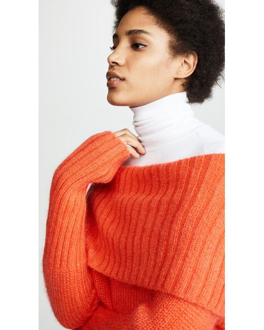 Lyst Mcq Alexander Mcqueen Mohair Cowl Neck Sweater In Orange