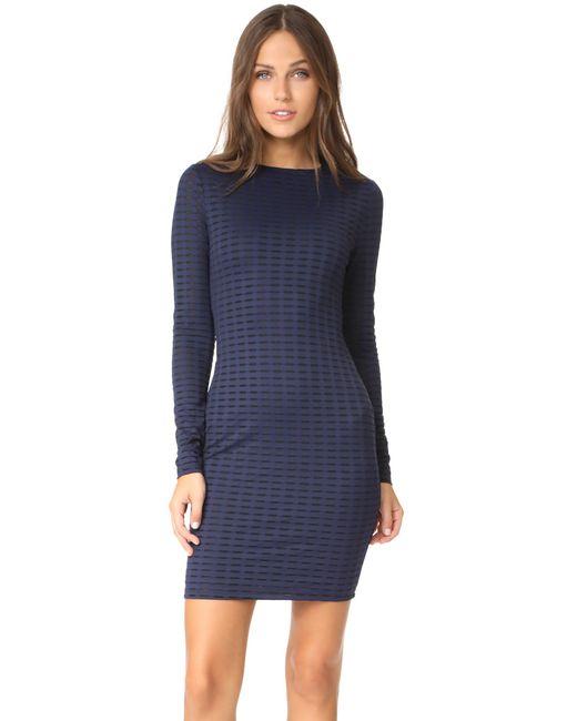 Twenty | Blue Fleury Framed Mesh Long Sleeve Crew Neck Dress | Lyst