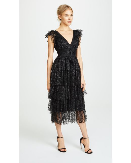 cc5999cb0fb Marchesa notte - Black Flutter Sleeve Cocktail Dress - Lyst ...