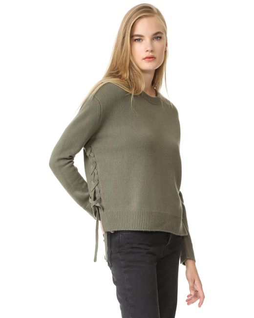 Vince | Green Lace Up Sweater | Lyst