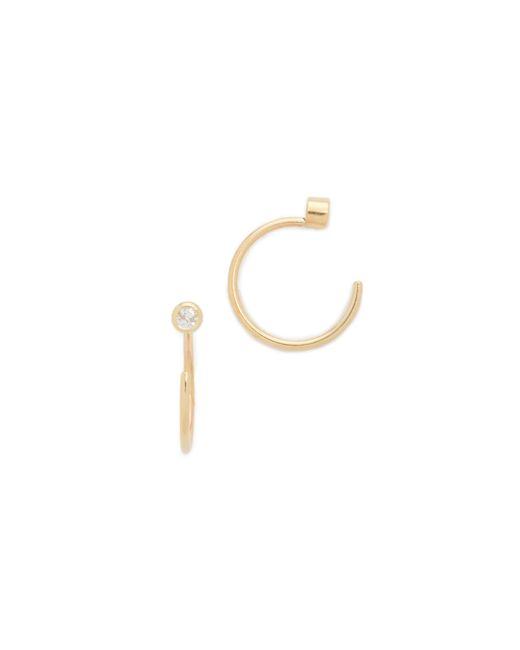 Zoe Chicco - Metallic Reversible Bezel Diamonds Huggie Earrings - Lyst
