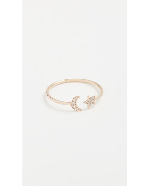 Zoe Chicco - Metallic 14k Gold Star & Moon Ring With Diamonds - Lyst