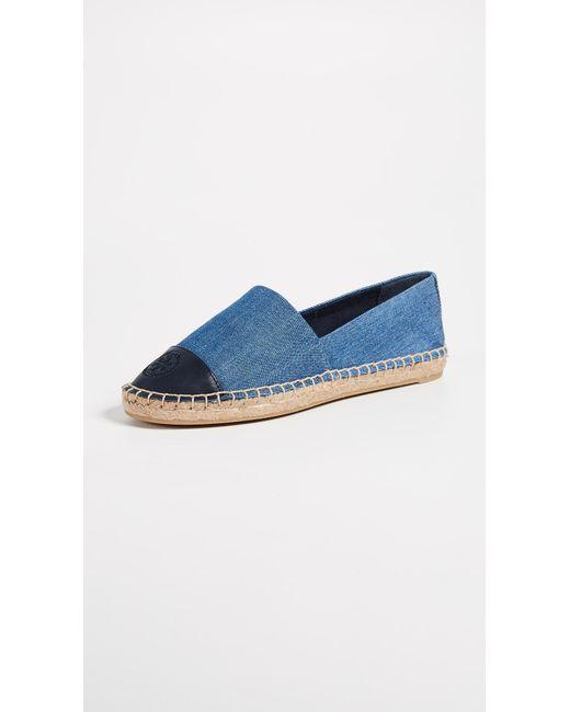 4032a6c80299 Tory Burch - Blue Denim Flat Espadrilles - Lyst ...