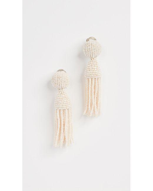 Oscar de la Renta | White Short Tassel Earrings | Lyst