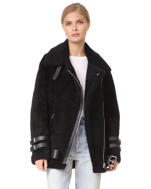 Acne | Black Velocite Shearling Moto Jacket | Lyst