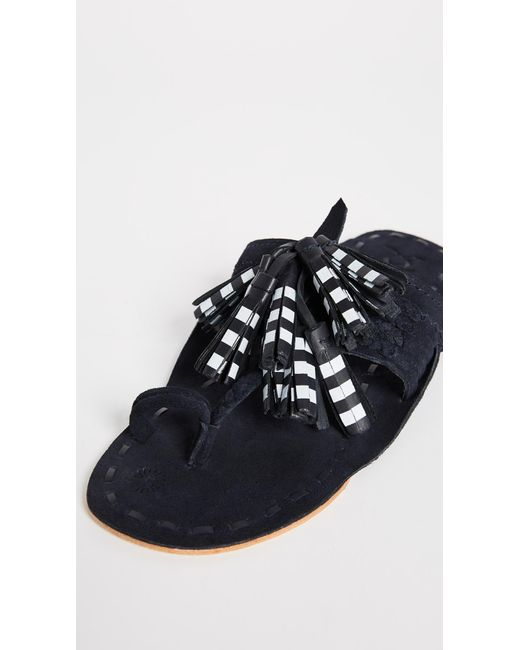Scaramouche Tasseled Leather And Suede Sandals - Navy Figue AQu6L