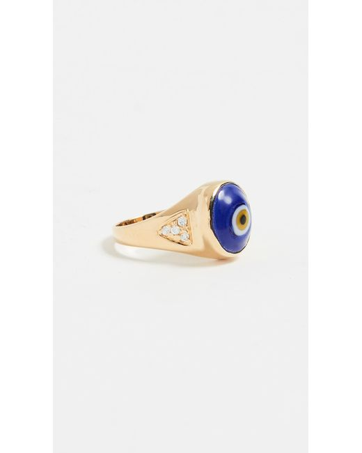 Jacquie Aiche - Blue Evil Eye Pinky Ring - Lyst
