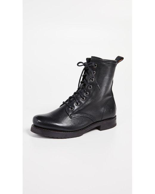 Frye - Black Veronica Combat (grey Waxed Full Grain) Women's Lace-up Boots - Lyst