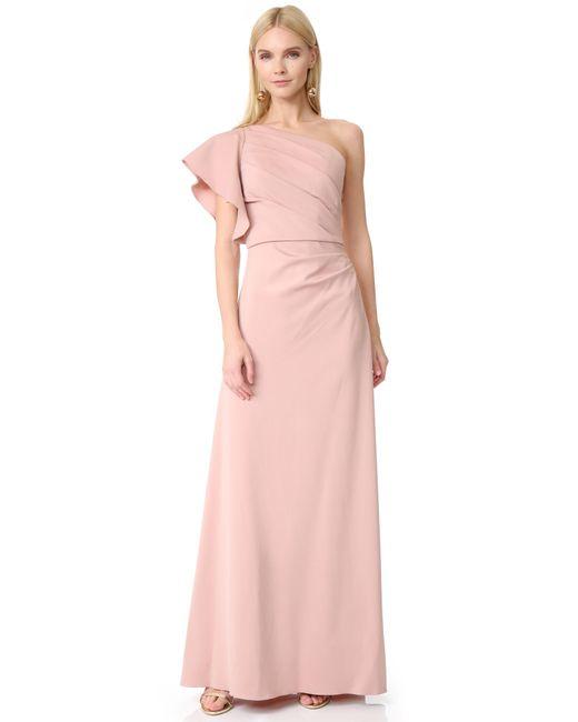 Monique Lhuillier Bridesmaids | Pink One Shoulder Gown | Lyst