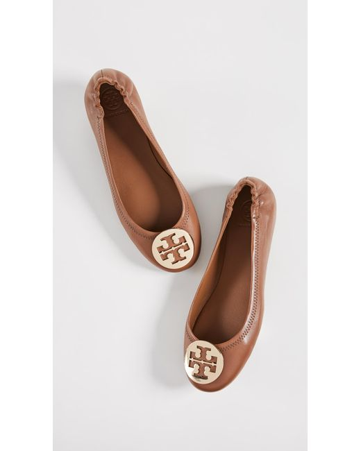 0471a82e9db2 ... Lyst Tory Burch - Brown Minnie Travel Ballet Flat (arabian Spice)  Women s Shoes ...