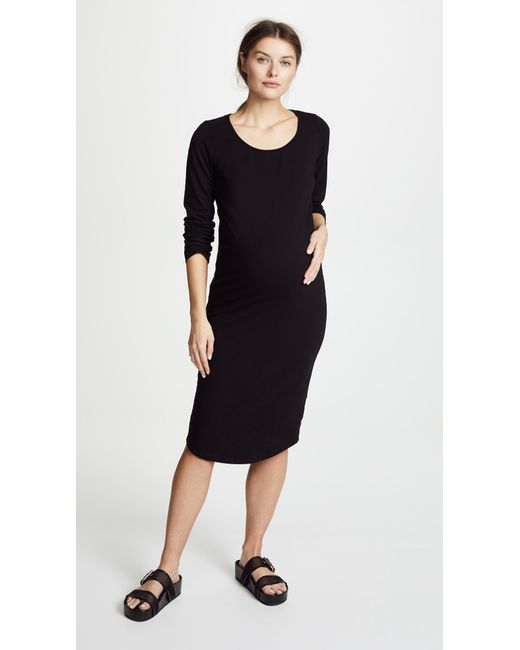 Monrow - Black Maternity Long Sleeve Dress - Lyst