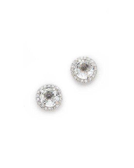 EF Collection | Metallic Diamond White Topaz Stud Earrings | Lyst
