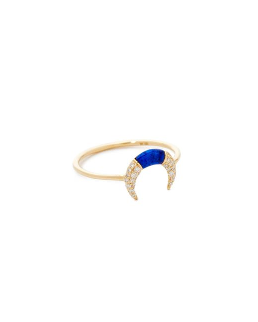Sydney Evan | Metallic Small Pave Inverted Crescent Ring | Lyst