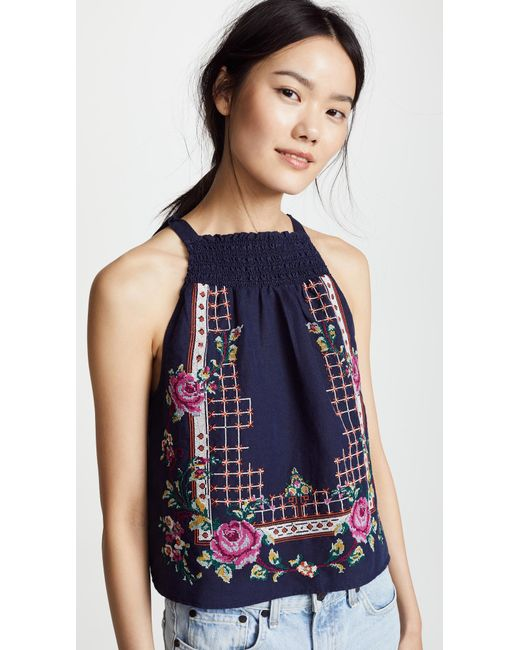 Free People - Blue Honey Pie Embroidered Tank - Lyst