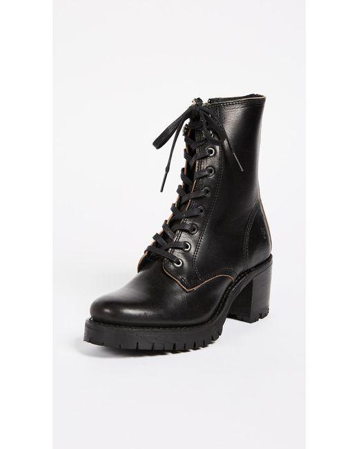 Frye - Black Sabrina Combat Heeled Boots - Lyst
