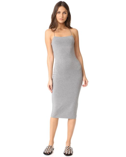 T By Alexander Wang - Gray Strappy Tank Dress - Lyst
