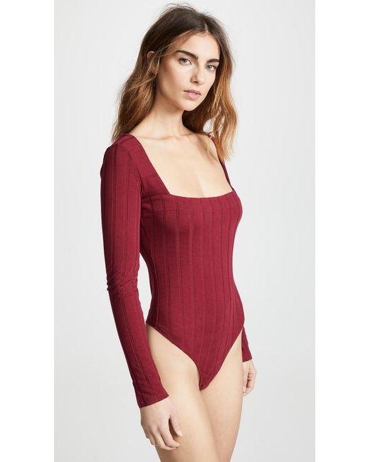 ... Free People - Red Beside Me Thong Bodysuit - Lyst ... bf537dfdb