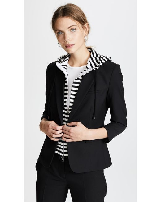 Veronica Beard - Black Schoolboy Jacket With Striped Dickey - Lyst
