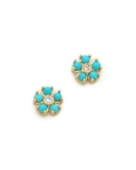 Jennifer Meyer - Blue Turquoise Flower Diamond Stud Earrings - Lyst