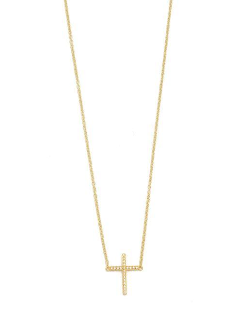 Jennifer Meyer | Metallic Thin Cross Necklace | Lyst