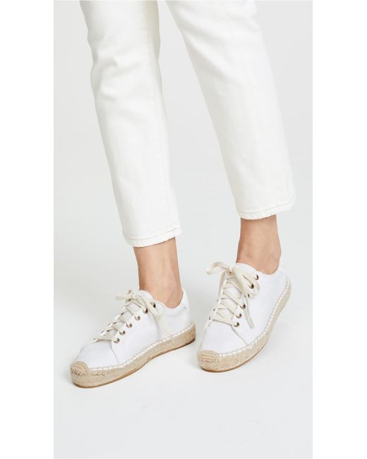 5423657498c Lyst - Soludos Canvas Espadrille Sneakers in White - Save 84%