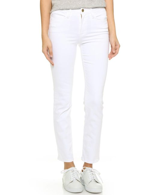 FRAME - White Le High Straight Jeans - Lyst