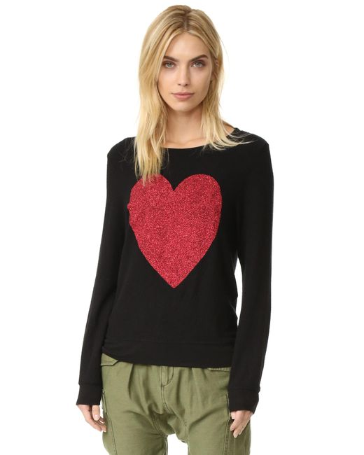 Wildfox | Black Sparkle Heart Baggy Beach Pullover | Lyst