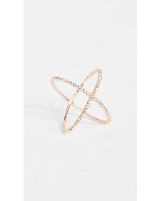 EF Collection - Pink Pave Rose Gold Diamond X Ring - Lyst