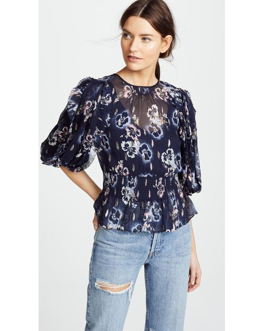 Rebecca Taylor - Blue Long Sleeve Faded Floral Top - Lyst