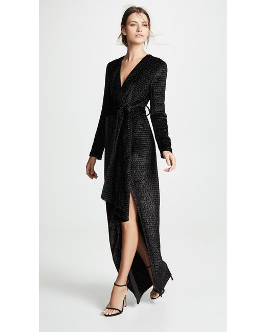 12d6fc994872f Brandon Maxwell - Black Wrap Gown With Sleeves - Lyst ...
