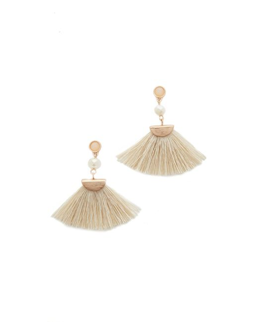 Shashi | Metallic Mia Tassel Fan Earrings | Lyst