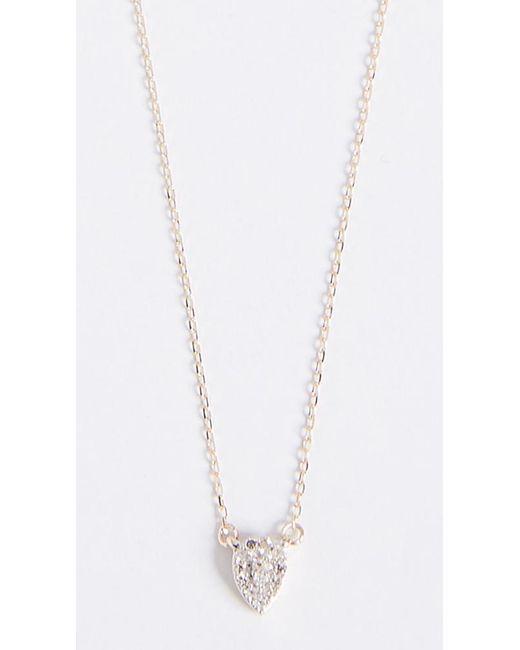 Adina Reyter | Metallic 14k Gold Super Tiny Solid Pave Teardrop Necklace | Lyst