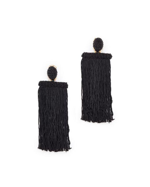 Oscar de la Renta | Black Long Silk Waterfall Tassel Clip On Earrings | Lyst