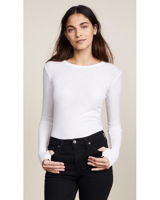 Enza Costa - White Cuffed Crew Neck Top - Lyst