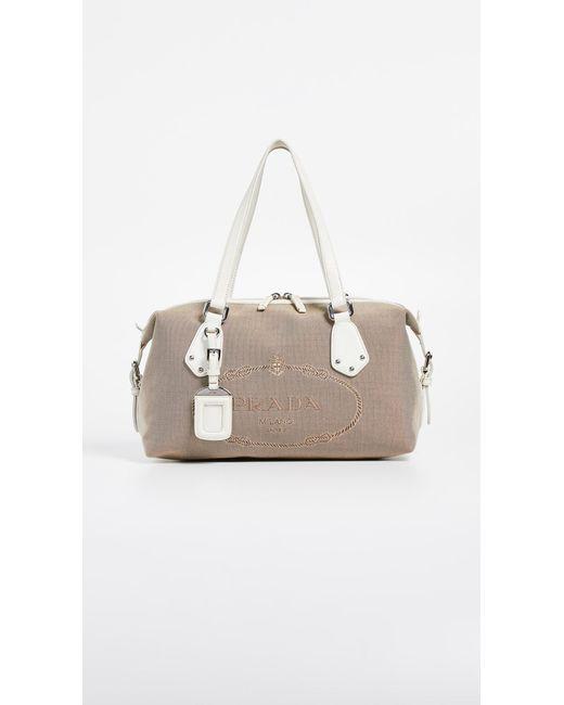 What Goes Around Comes Around - White Prada Jacquard Handbag - Lyst ... 642e7ce9c7cb6