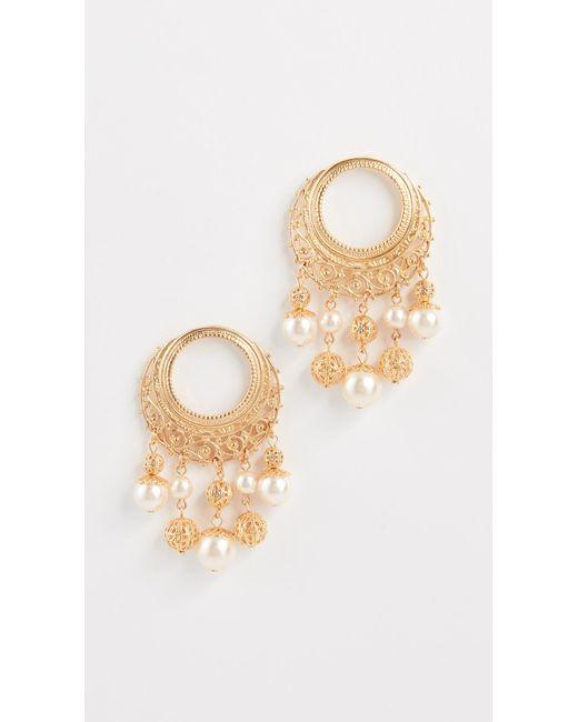 Ben-Amun   Metallic Earrings With Multi Imitation Pearl Drop   Lyst