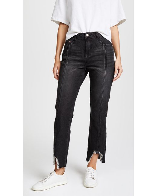 SJYP | Black Destroyed Hem Boyfriend Jeans | Lyst