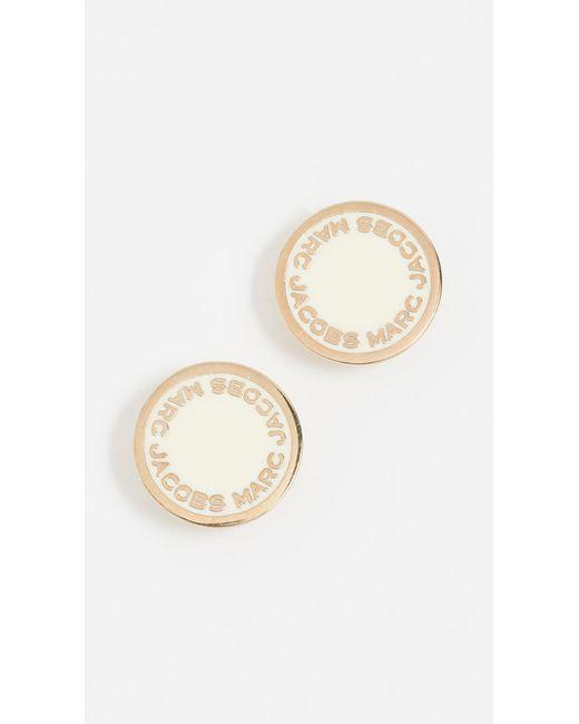 Marc Jacobs - Metallic Enamel Logo Disc Stud Earrings - Lyst