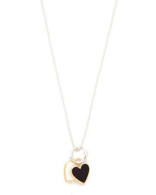 Eddie Borgo | Metallic Double Heart Charm Pendant Necklace | Lyst