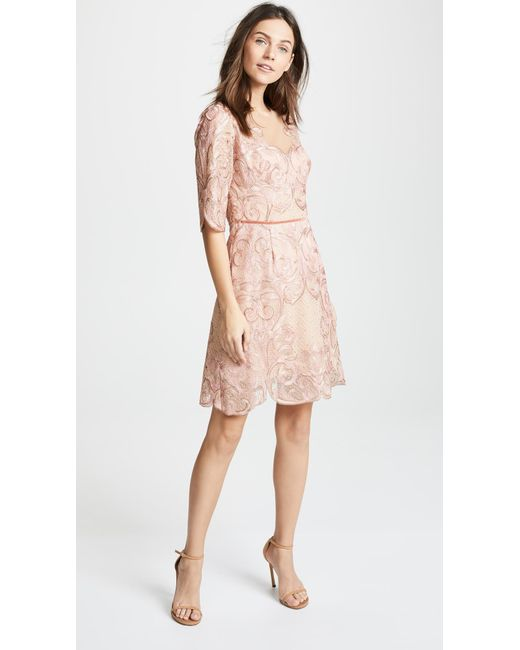 Marchesa Notte Pink Metallic Embroidered Tail Dress Lyst
