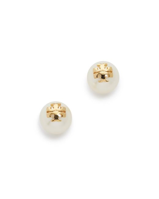 Tory Burch | White Swarovski Imitation Pearl Stud Earrings | Lyst