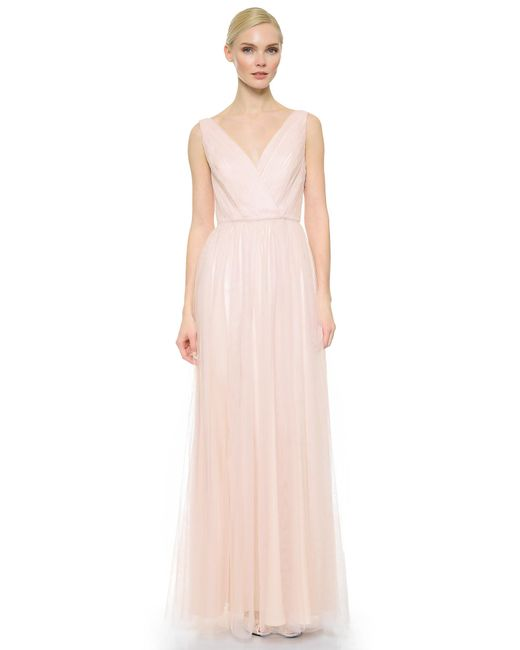 Monique Lhuillier Bridesmaids - Pink Shirred Multi Tone V Neck Gown - Lyst